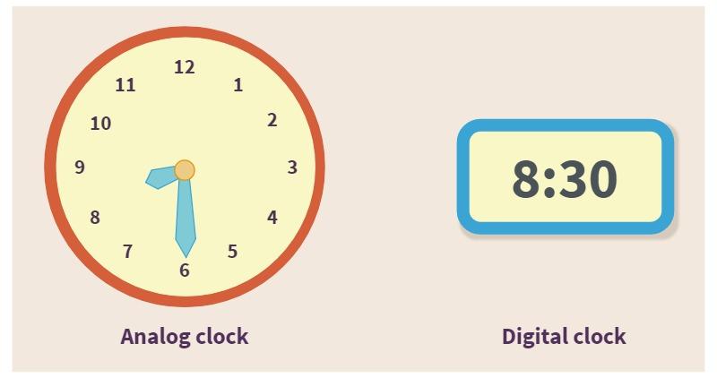 analog and digital clocks