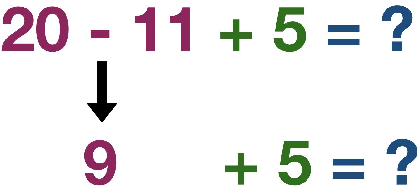 20 - 11 + 5 = ?