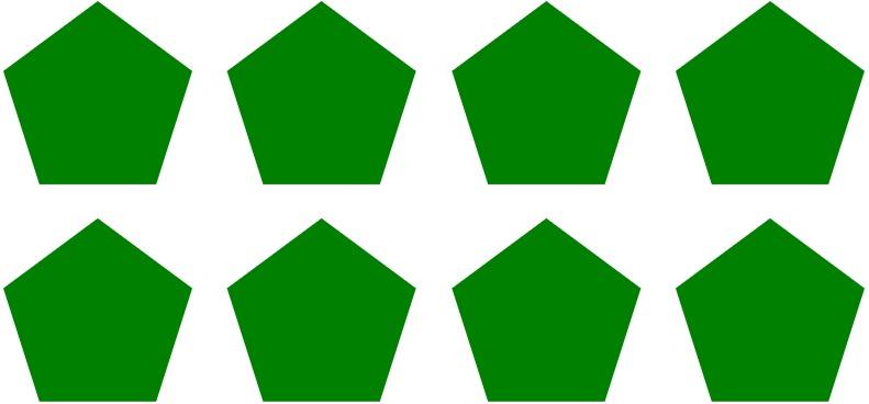 an array of pentagons