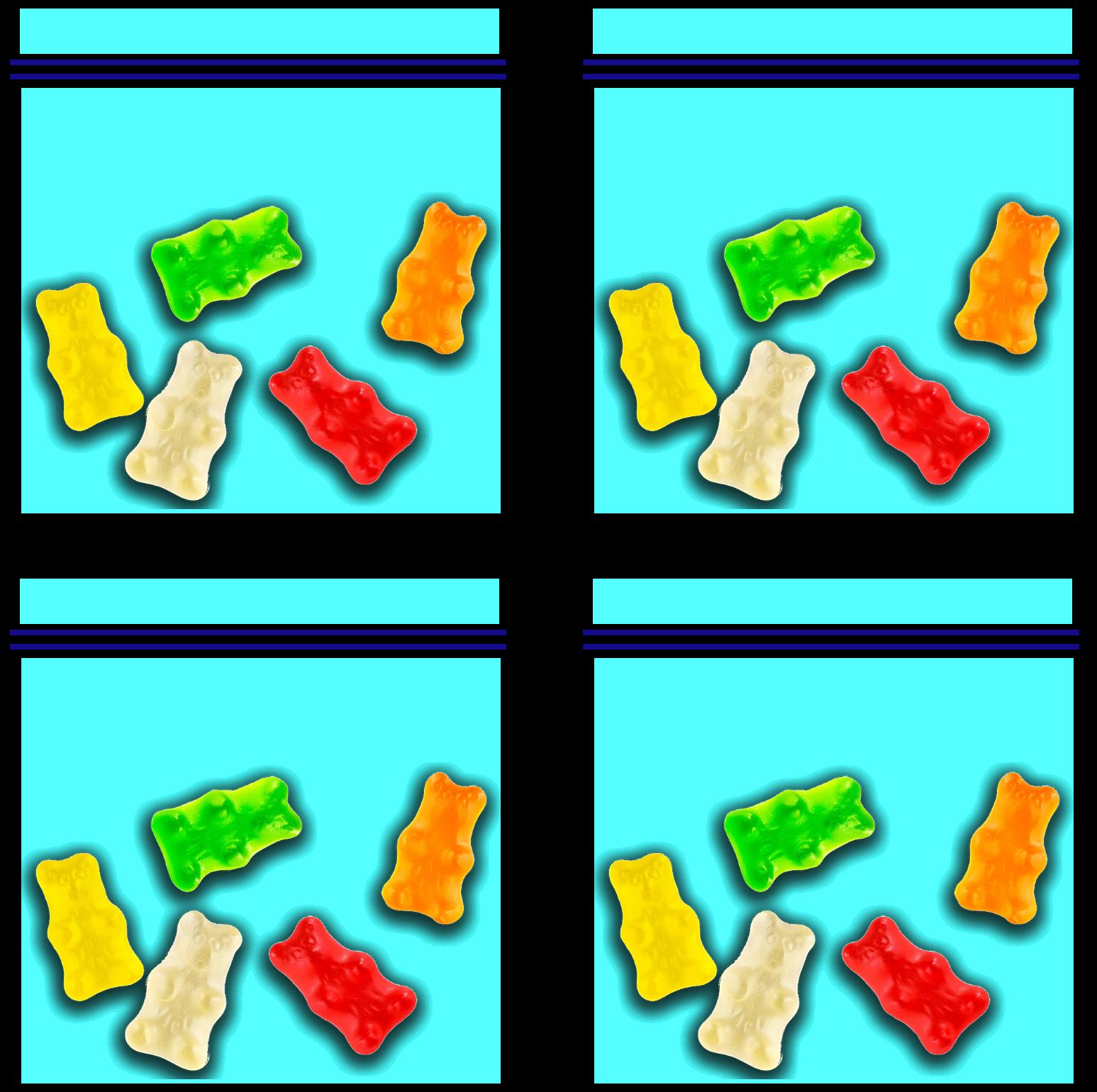4 group of 5 gummy bears
