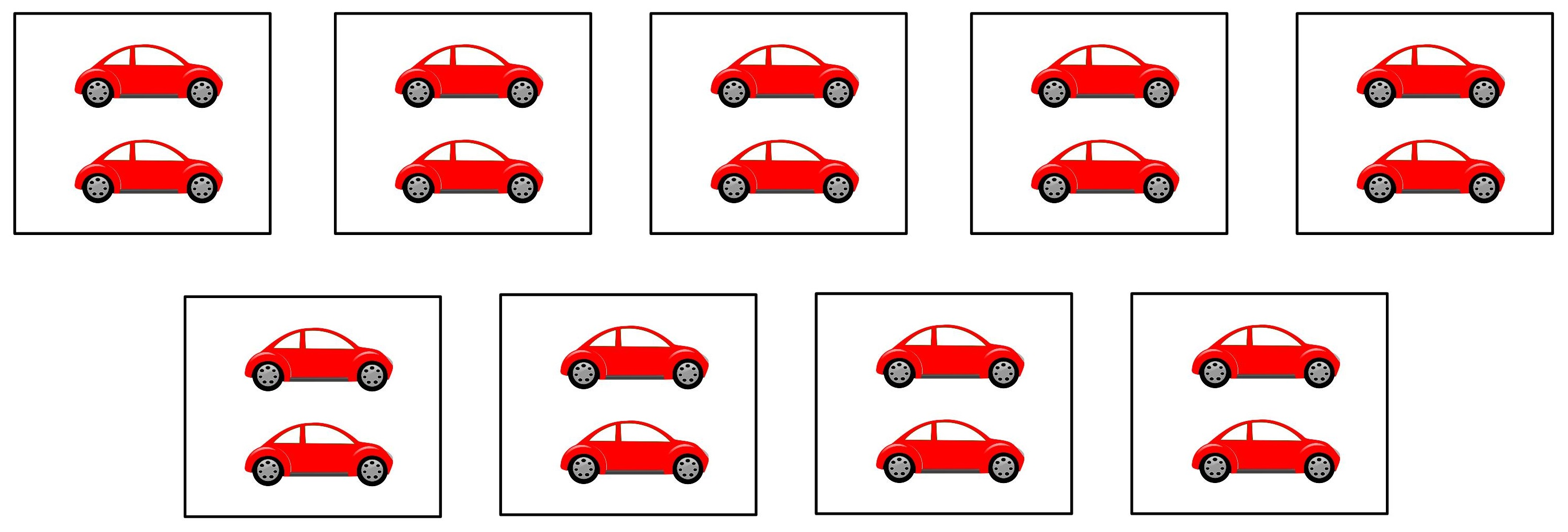 9 groups of cars