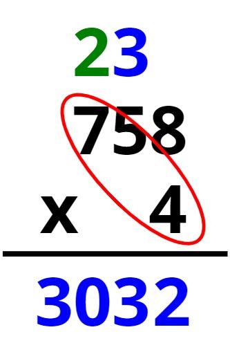 758 x 4 = 3032