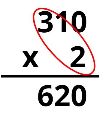 310 x 2 = 620