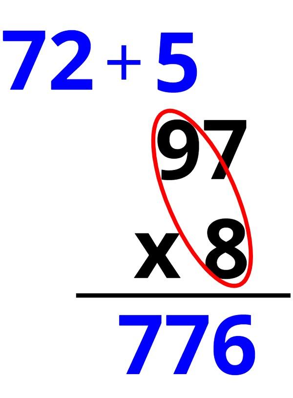 97 x 8 = 776