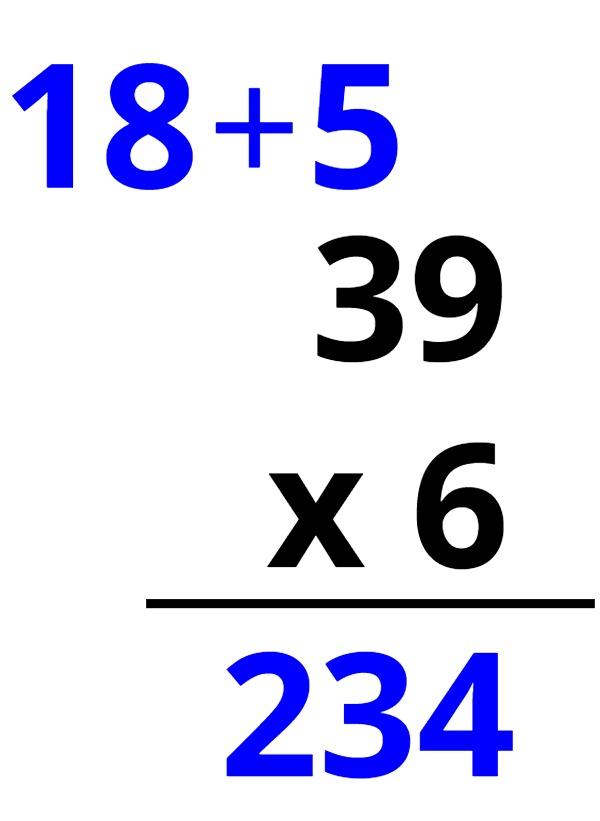 39 x 6 = 234