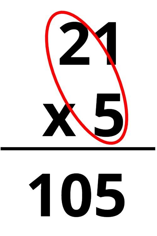 21 x 5 = 105