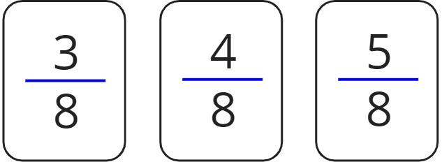 3/8, 4/8, 5/8