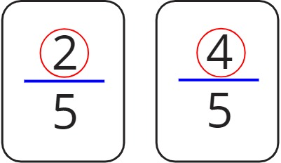 the numerators are 2 and 4