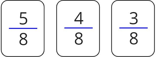 5/8, 4/8, 3/8