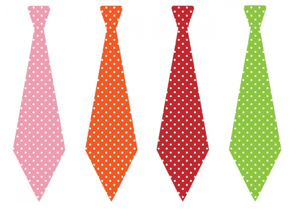 Four neckties with different colors and the same design.