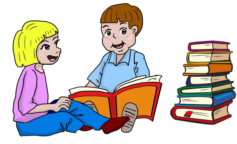 Two kids reading books together.