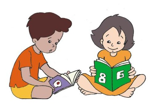 Two kids are reading books together.