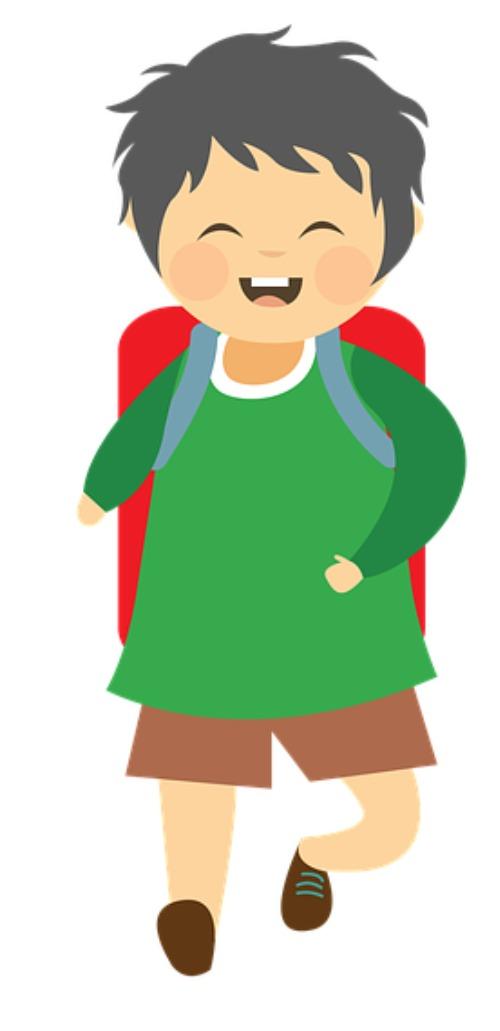 A kid is walking to school.
