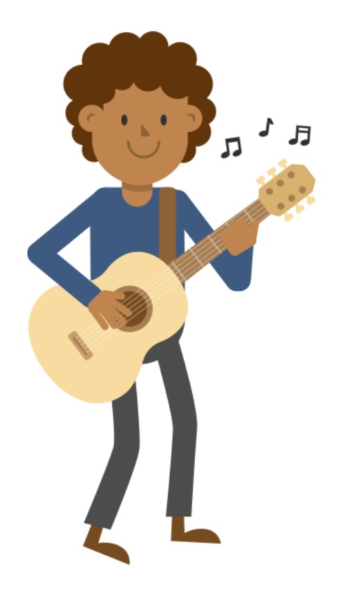 A boy is playing a guitar.