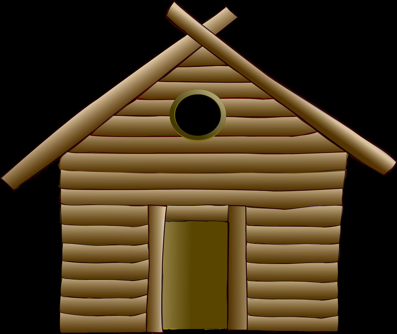 A log house.