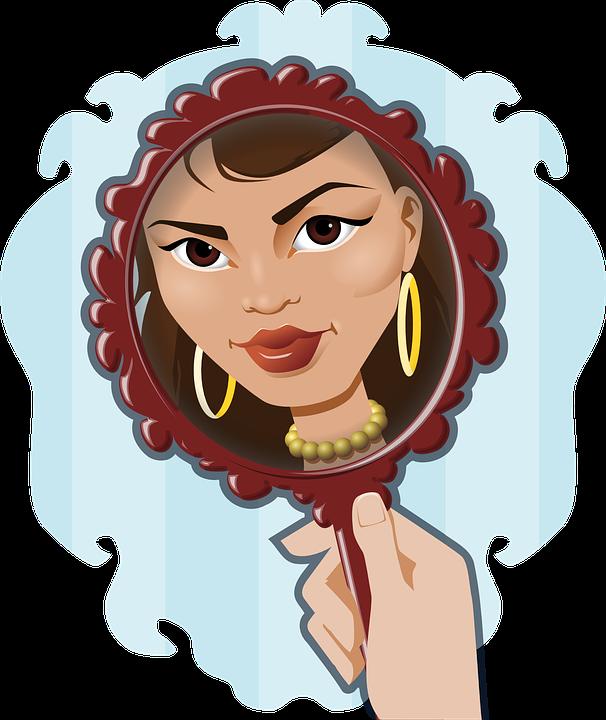 Maria holding mirror.