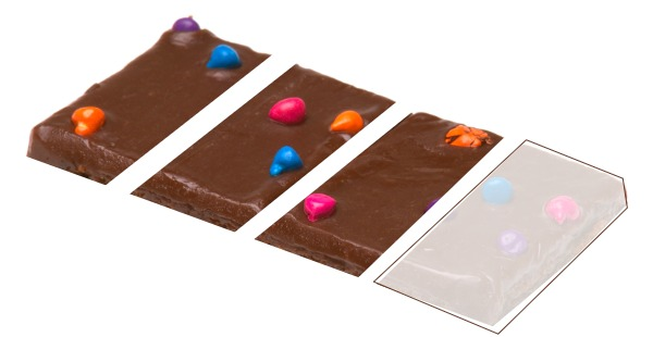 candy bar cut into 4