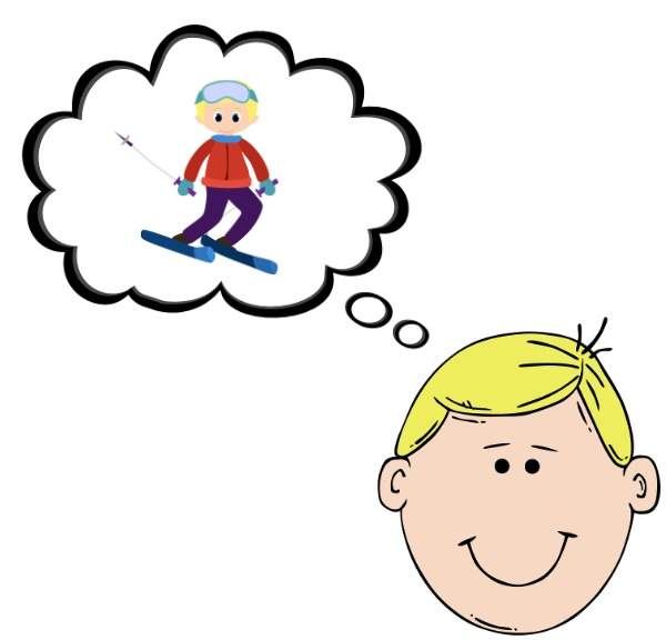 A boy is thinking about going skiing.