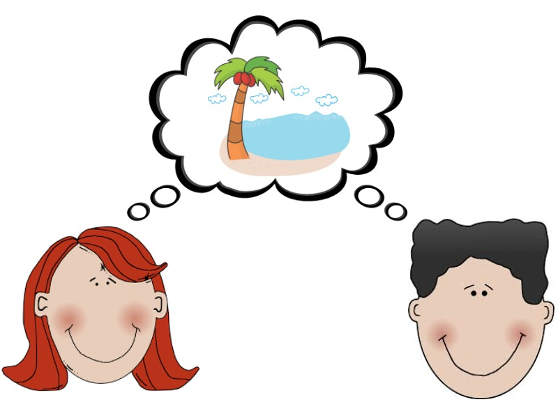 A girl and a boy are both thinking about going to the beach.
