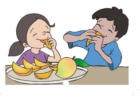 Kids eating fruit.