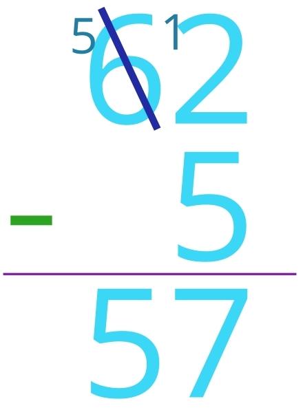 62 - 5 = 57
