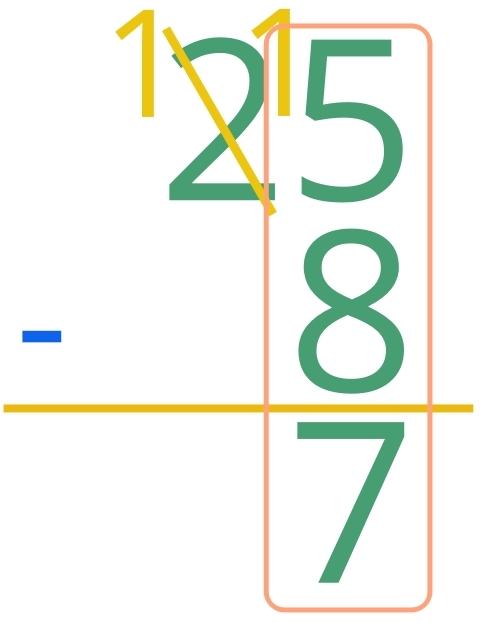 25 - 8 = 7