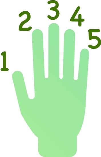 5 fingers raised