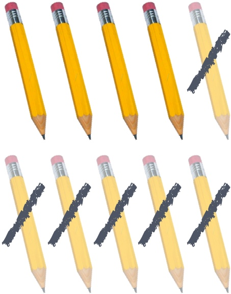 6 pencils crossed out