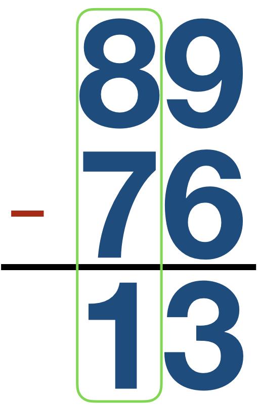 89 - 76 = 13
