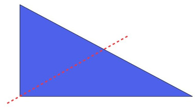 the right triangle divided into 2 parts in another way