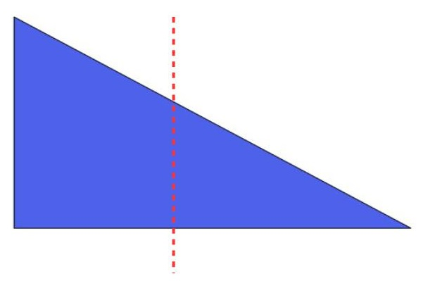 a right triangle divided into 2 parts