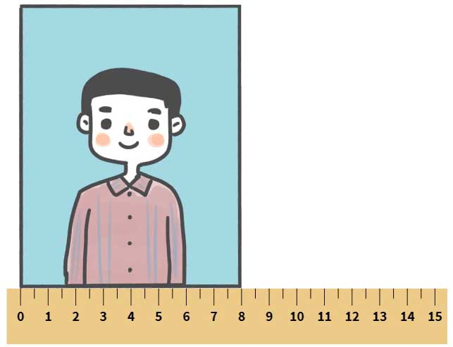 photograph being measured by a ruler