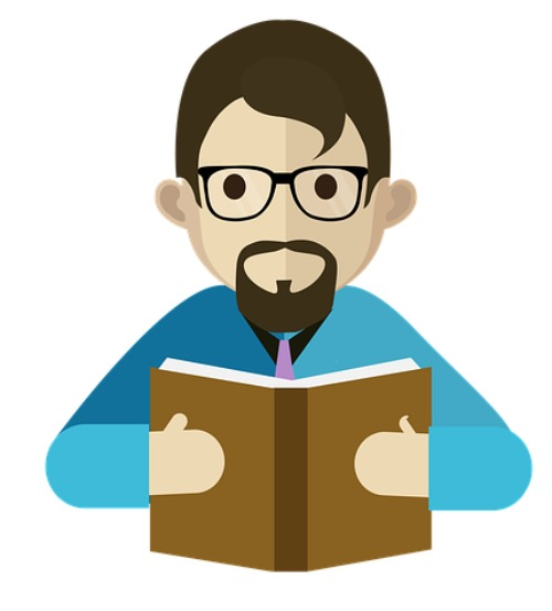 A teacher reading a book.