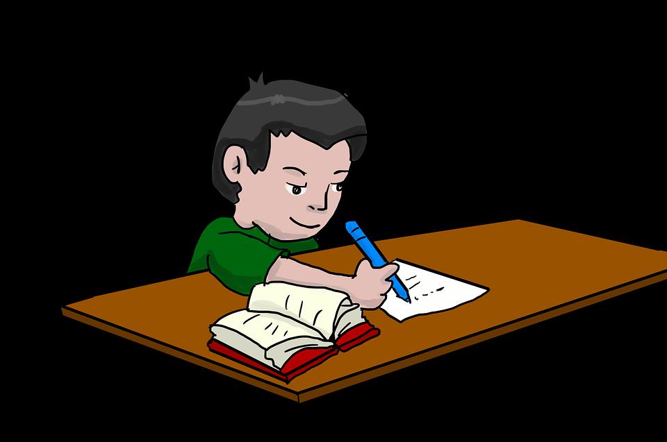 A boy doing his homework.