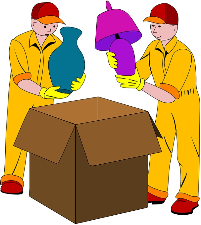 Men upacking items from boxes.