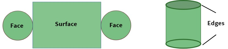 face, surface, and edges of a cylinder
