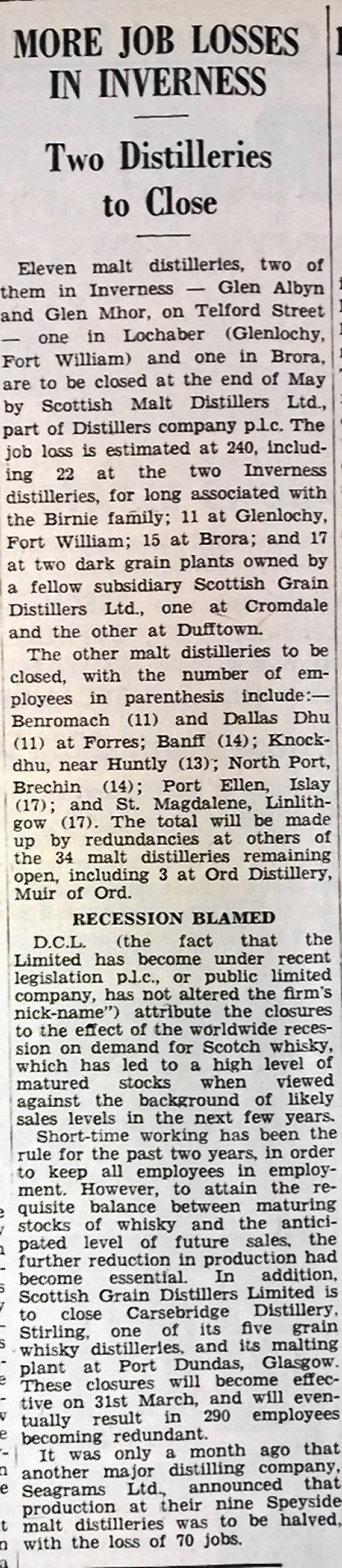 Newspaper clipping about the distillery closures