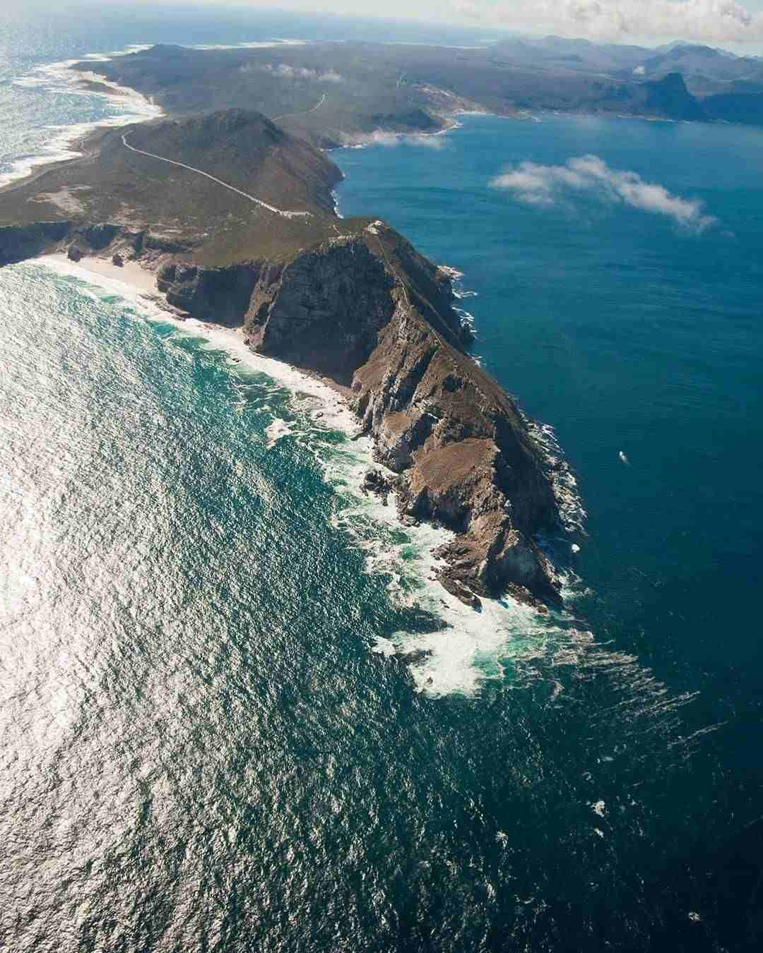 Cape Point aerial surrounded by ocean