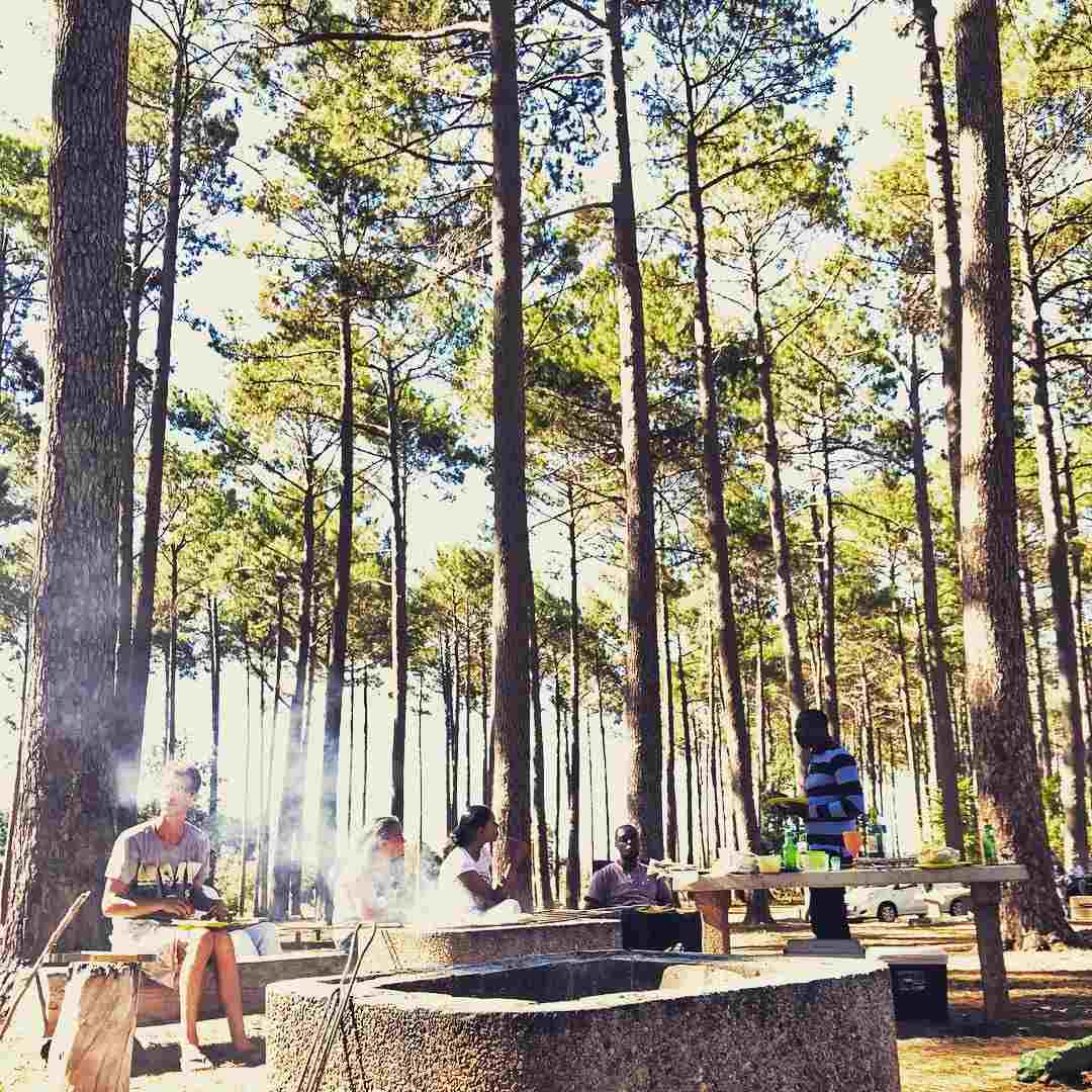 Image of a braai area at Tokai Forest. People sit and stand around it.