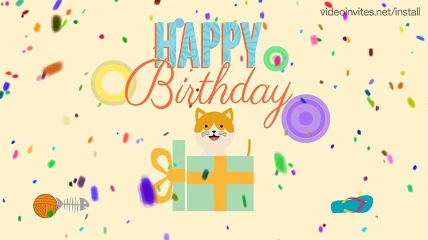Birthday Kitten Video Invitation