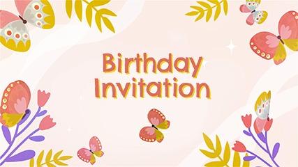Butterfly Birthday Birthday Invitation Video