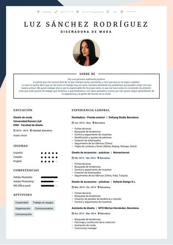 Currículum Diseñadora de moda