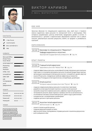 Резюме Email маркетолог