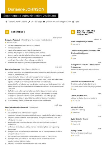 Resume Experienced Administrative Assistant