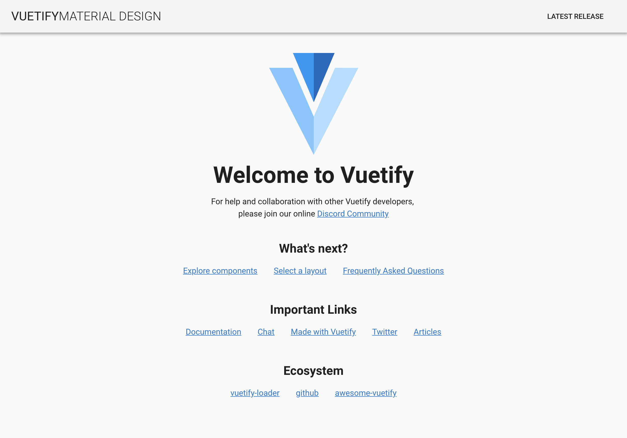 Preview Vuetify Boilerplate homepage