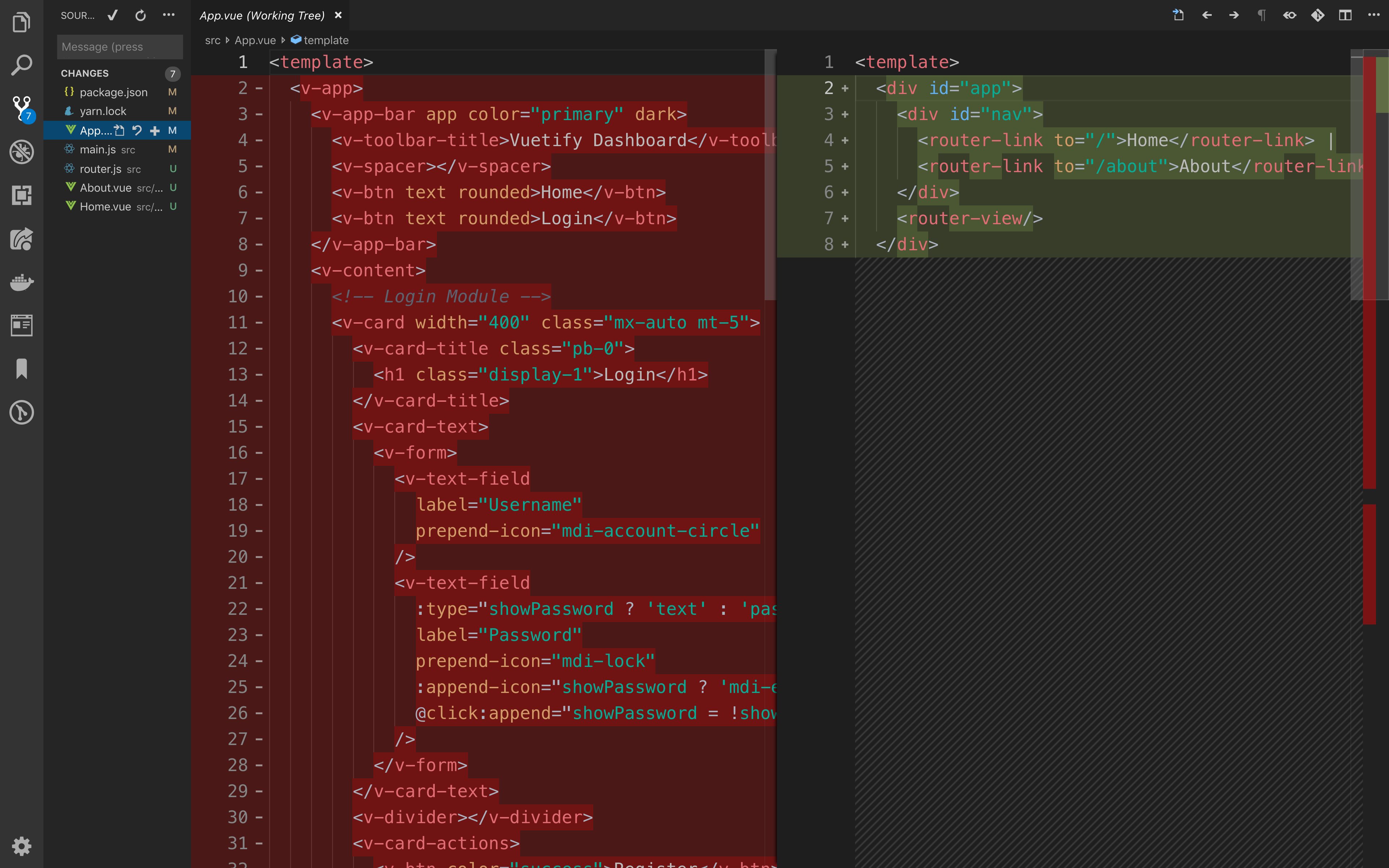 Screenshot of the diff of App.vue on VS Code