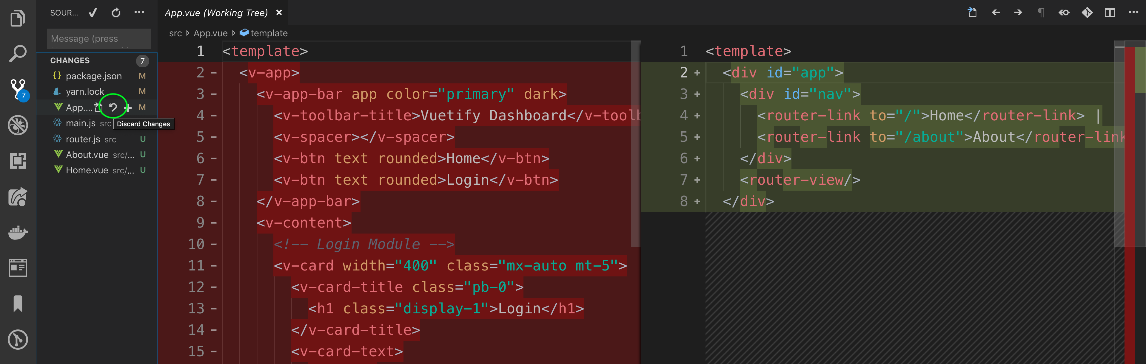 Screenshot of Discard change icon on VS Code