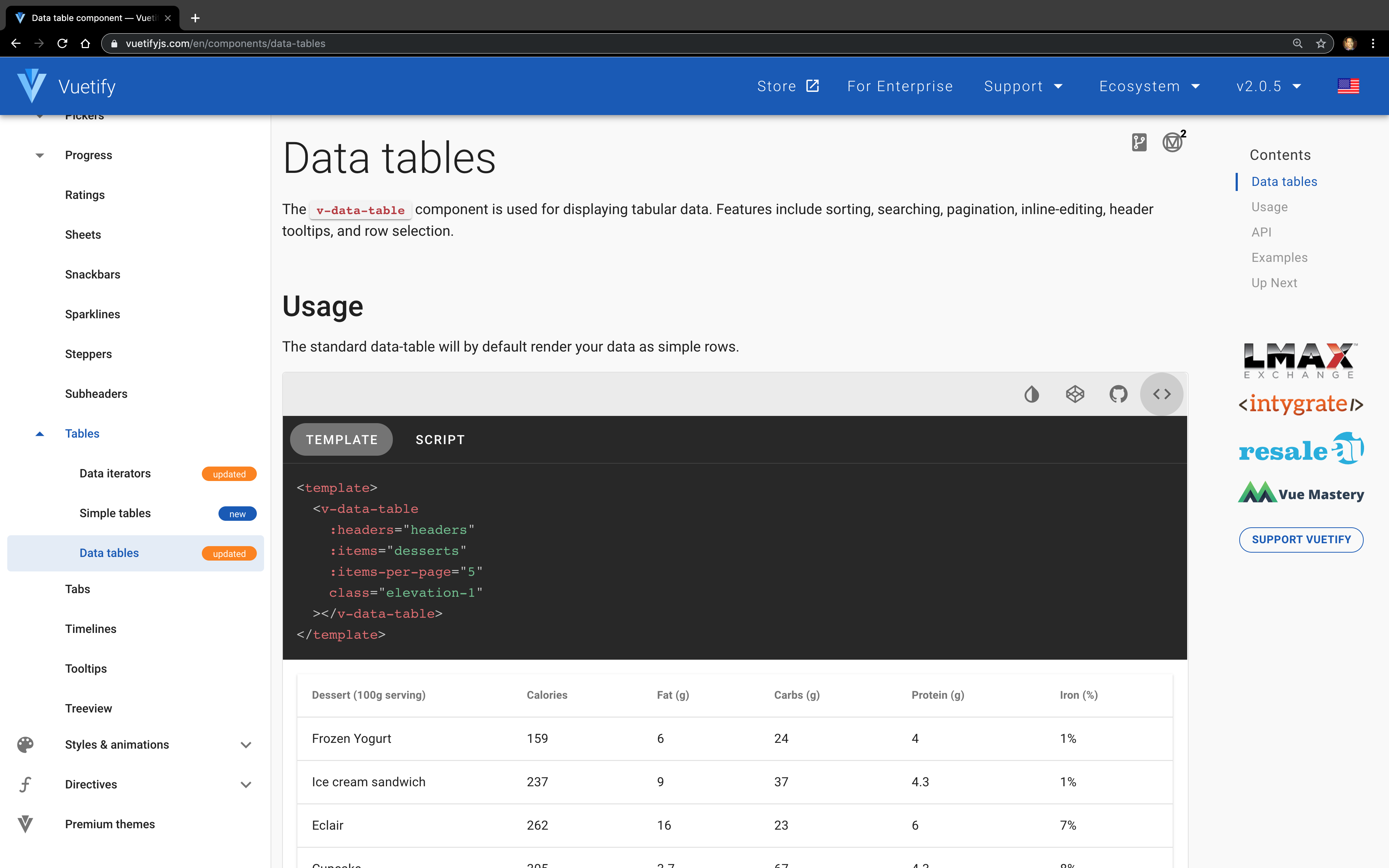 Screenshot of data table source code in docs