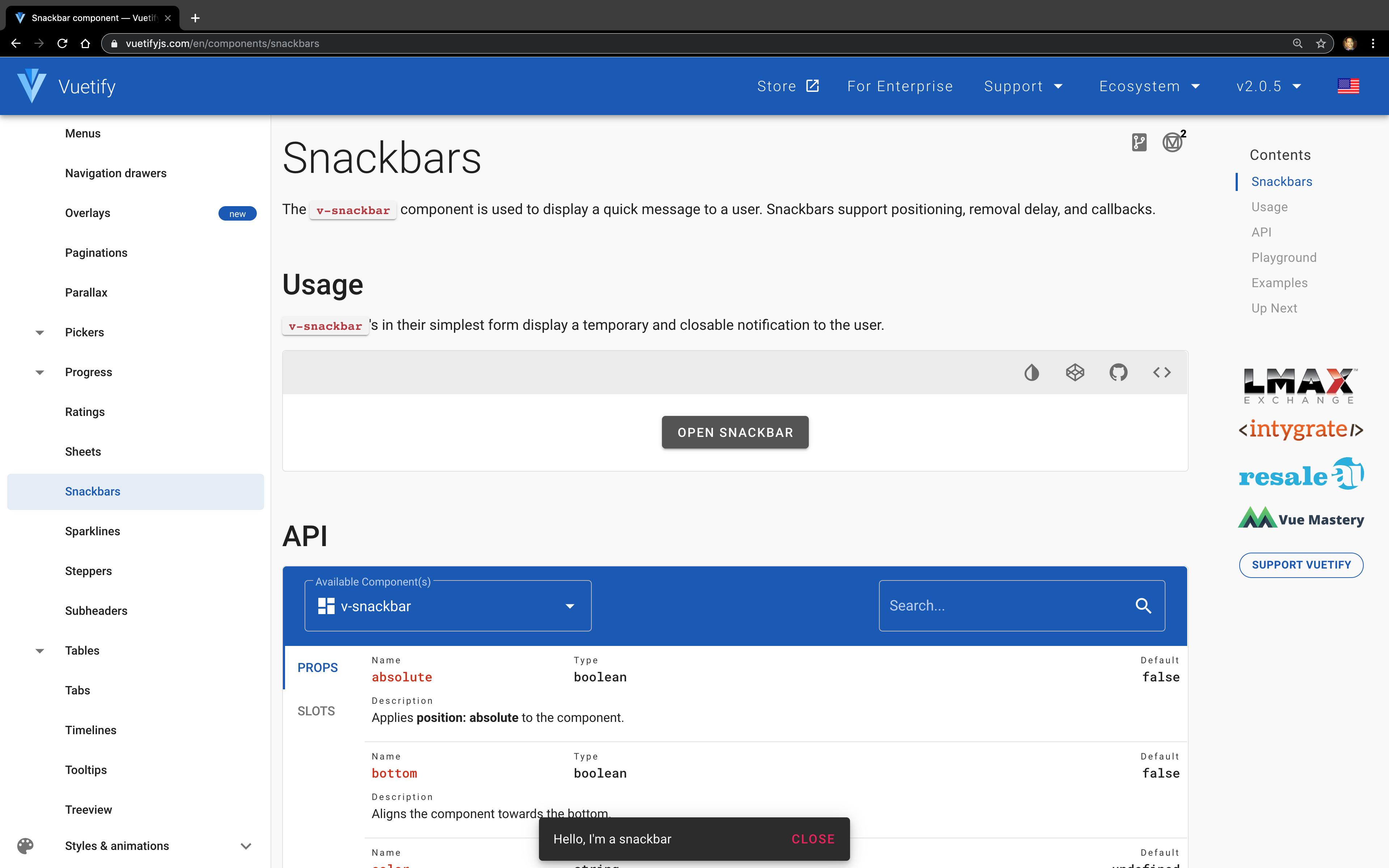 Screenshot of Snackbars docs