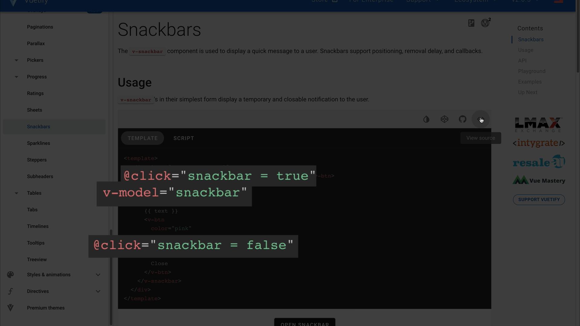 Screenshot of Snackbar source code